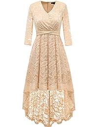Dresstells Damen elegant Hi-Lo Cocktailkleid Unregelmässig Spitzenkleid  Vokuhila Kleid mit V-Ausschnitt Festlich Party… e296282af3