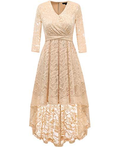 DRESSTELLS Abendkleider elegant Cocktailkleid Unregelmässig Spitzenkleid Vokuhila Floral Kleid Champagne 3XL