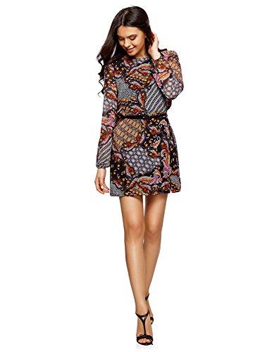 oodji Ultra Damen Kleid Basic mit Gürtel, Mehrfarbig, DE 36 / EU 38 / S (Mini-paisley-tunika)