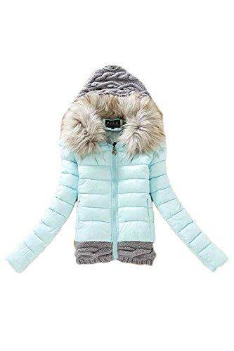 Casual Patchwork Colorblock Hoodie laine vêtements manteau des femmes blue
