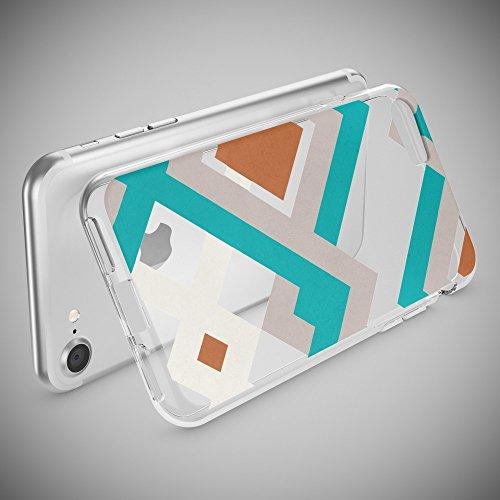 iPhone 8 / 7 Hülle Handyhülle von NICA, Slim Silikon Motiv Case Crystal Schutz Dünn Durchsichtig, Etui Handy-Tasche Back-Cover Transparent Bumper für Apple iPhone 7 / 8 - Transparent Retro Lines