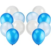 "iTelker 12"" White & Dark Blue & Light Blue Balloons Set, Thick Latex Balloon for Birthday Party decoration Party Supplies(100 PCS)"