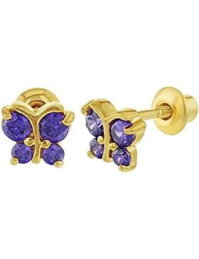 In Season Jewelry Baby Kinder - Schraubverschluss Ohrringe Winzig Schmetterling 18k Vergoldet Lila CZ Zirkonia...