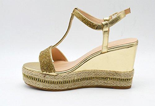 SHT16 * Sandales Nu-Pieds avec Brides Strass et Semelle Plateforme Compensée Style Espadrilles - Mode Femme Doré