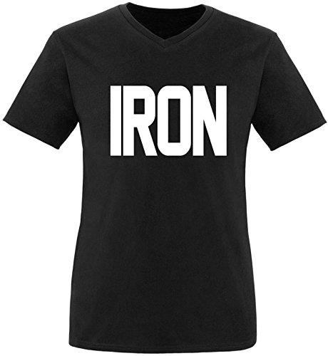 EZYshirt® Iron Herren V-Neck T-Shirt Schwarz/Weiss