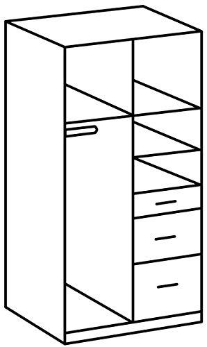 Wimex Kleiderschrank/ Drehtürenschrank Click, 2 Türen, 2 große, 1 kleine Schublade, (B/H/T) 90 x 199 x 58 cm, Weiß/Absetzung Eiche Sägerau