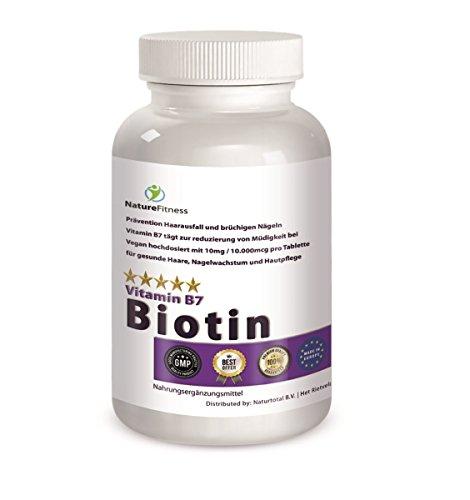 Natur Aus Biotin (Biotin (Vitamin b7) Tabletten maximale Stärke 10,000MCG hochdosiert 365 Stück für 1 Jahr. Hammerpreis. Top Qualität, hergestellt unter GMP Richtlinien.)