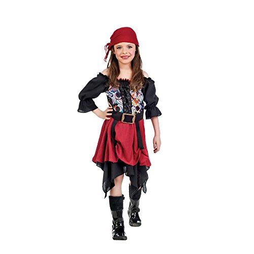 Piraten Kostüm Kinder Kleid mit Kopftuch schwarz rot Kostümklassiker zum Karneval - 3/5 Jahre