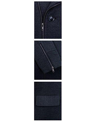 HRYfashion - Manteau - Uni - Homme Noir - Charbon