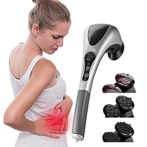 Elektrischer Körper-Massager, doppelter Kopf-elektrischer Körper-Massager-variable Geschwindigkeits-Infrarothandvollkörper-Massage-Hammer