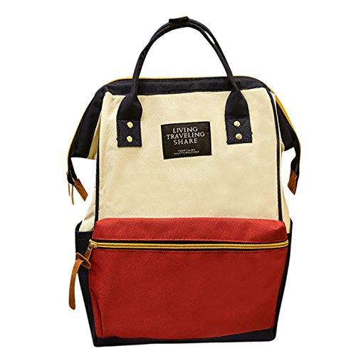Elecenty Rucksack Backpack Damen,Unisex Schulranzen Damenrucksack Herren Rucksackhandtaschen Frauen Nylon Freizeitrucksack Schulrucksack Reißverschluss Reisetasche Tasche Taschen (24cm, Mehrfarbig)
