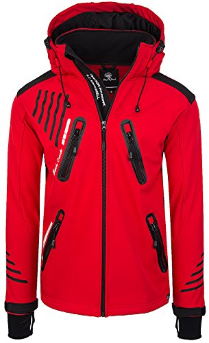 Rock Creek Herren Softshell Jacke Outdoorjacke Windbreaker Übergangs Jacke H-140 [Red 3XL]