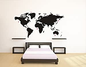 sticker autocollant carte du monde murale noir. Black Bedroom Furniture Sets. Home Design Ideas
