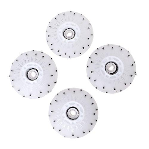Sharplace 4 x Inline Outdoor Skate Ersatz Rollen mit LED Licht - Weiß, 80 mm