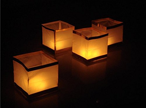 Chinesische Kerze (Outdoor Wasser schwimmende Kerze Laternen biologisch abbaubar weiß Chinesisches Papier Laternen für Wishing, Gebet, 10-pack-15cm von fascola)