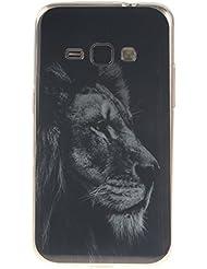 Coque Samsung Galaxy J1 (2016) J120,Cozy Hut® Coque Gel TPU Silicone Dessinez motif pour Samsung Galaxy J1 (2016) J120 - Housse Etui Protection Full Silicone Souple Ultra Mince Fine Slim, TPU avec Absorption de Choc, Etui Silicone Transparente, Très Légère / Ajustement Parfait / Coque pour Samsung Galaxy J1 (2016) J120 - Lion
