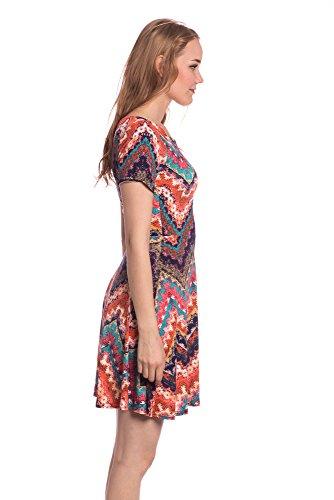 Abbino J502-1 Vestiti Donne Ragazze - Made in Italy - Multiplo Colori - Mezza Stagione Primavera Estate Autunno Uni Signore Vestiti Donne Classico Libero Casual Eleganti Saldi Sexy Rosso (Art. J502-1)