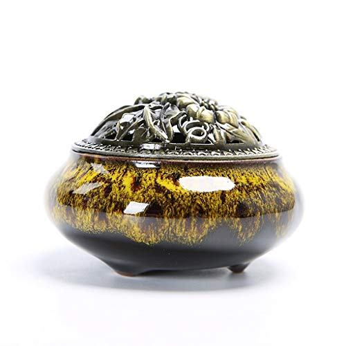 WATERMELON Kreative Keramik Procelain Räuchergefäß Antike Mini Räuchergefäß für Buddha Ornamente Fambe Räuchergefäß - 7,2x10 cm Incense Holders (Color : Yellow) -