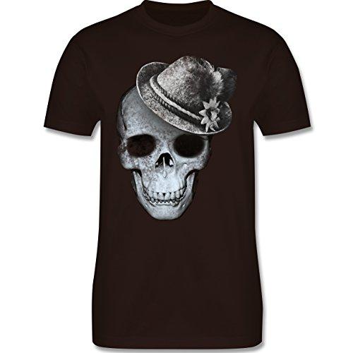Oktoberfest Herren - Totenkopf mit Filzhut - Herren Premium T-Shirt Braun