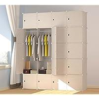 PREMAG Patrón de madera Armari portátil para colgar la ropa, ropero combinado, Armario modular para ahorrar espacio, Ideal organizador de almacenamiento Cubo para libros, juguetes, toallas (20-Cube)