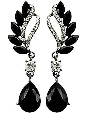 Schmuckanthony Abendschmuck Ball Hochzeit Lange Ohrringe Kristall Schwarz klar Transparent 6,7 cm lang