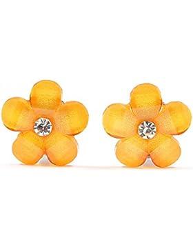 Idin Ohrclips - Orange Blumen mit Kristalleffekt und Strass (ca. 17 x 17 mm)