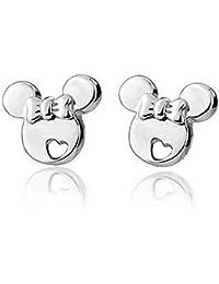 826c992cb363 Sefon Bwomen - Pendientes de Plata de Ley con diseño de Mickey Mouse