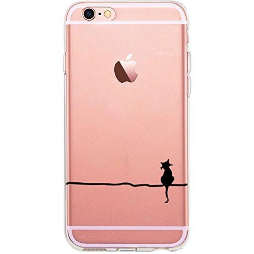 GIRLSCASES® | iPhone 6-6S Plus Hülle | Im Schmetterling Blumen Motiv Muster | in rosa pink | Fashion Case transparente Schutzhülle aus Silikon Katze Luna