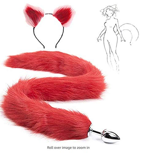 Cat Tail Pink Kostüm - Bnmgh Red Fluffy B-ütt P-l-ǔ-g Fox Tail, Red and Pink Cat Ears Headband Cosplay Role Play Halloween Toys Make Life Wonderful 2Pcs/Set