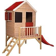 Madera Casa de Juguete en Platform para al Aire Libre | Niños Madera Casa de Juguete