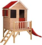 Wendi Toys Holz Spielhaus auf Platform für draußen | Kinder Holzspielhaus Offener Typ mit Fenster, Fensterläden, Tafel, Leiter, Rutsche, Halbtür