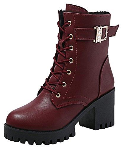 Scothen Damen Stylische Stiefeletten|Worker Boots Stiefel Gesteppt Leder-Optik|Zipper Ketten Biker Boots Blockabsatz SchnüRsenkel Stiefeletten Schnürstiefeletten Combat Pump SchnüRER SchnüRsenkel (Stiefel Gesteppte)
