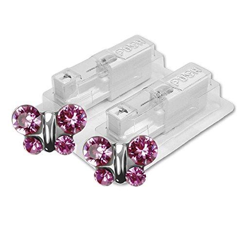 1 Paar STUDEX Medizinische Ohrstecker Schmetterling Rosé 7mm - Ohrringe Sterile