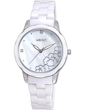 Damenuhr Rosegold Keramik Armbanduhr Weiß Rosa Frauenuhr elegant Design klassisch Quarzuhr Analog Findtime