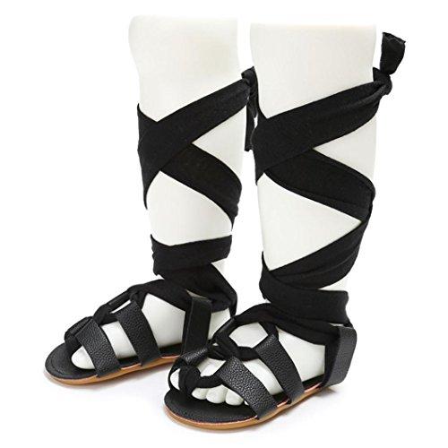 BZLine® Baby Bandagen Cross-gebundene Schuhe Mädchen Kleinkind Krippe prewalker Sandalen Schwarz