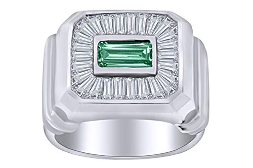 AFFY - Gold 14 Karat (585) 14kt Weiß-Gold Smaragdschliff Leicht Getöntes Weiß/Crystal (J) Diamant (Ringe Herren Gold 14kt)