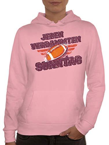American Football Gruppen Fan Damen Hoodie Frauen Kapuzenpullover Jeden Verdammten Sonntag, Größe: M,rosa