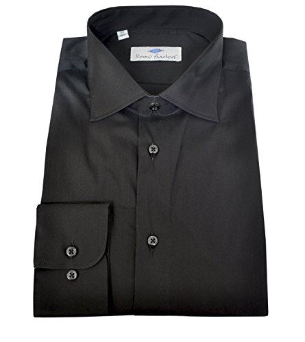 Remo sartori camicia uomo in cotone tinta unita nera, vestibilità regolare, maniche lunghe, made in italy (43-17)
