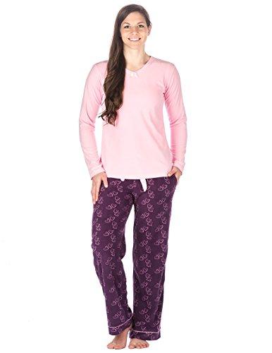 Noble Mount Homewear Ensemble de Pyjama en Micro-Polaire- Imprimé pour femme Cœurs Violet