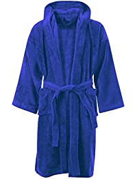 6f514ffe26 Kids Boys Girls Bathrobe 100% Egyptian Cotton Luxury Velour Towelling  Hooded Dressing Gown Soft Fine
