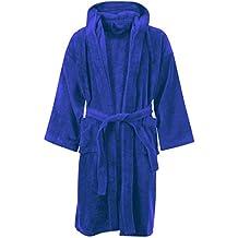 MyShoeStore® accappatoio/vestaglia da notte con cappuccio, 100% cotone egiziano, in lussuosa e morbida spugna velour, fine, comodo, per bambini e bambine