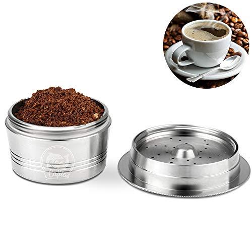 OurLeeme Cápsula recargable de café, taza de filtro de café reutilizable de acero inoxidable para K-Fee con cepillo de limpieza de cuchara de plástico