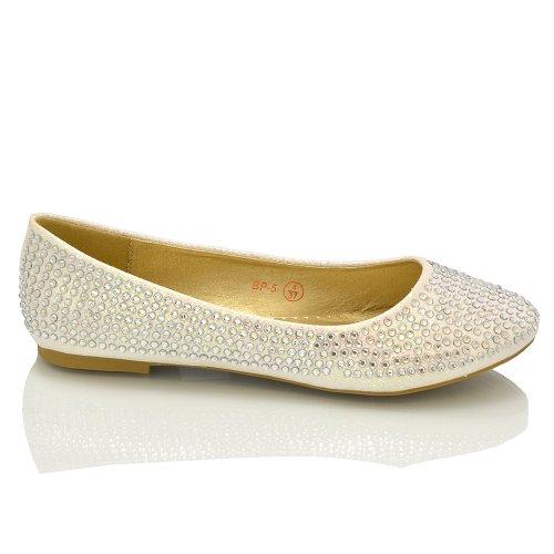 Damen Ballerinas Brautschuhe Diamant Glitzer Flache Pumps Verschiedene Größen - Sythetik, Weiß Glitzer, 6 UK - 2