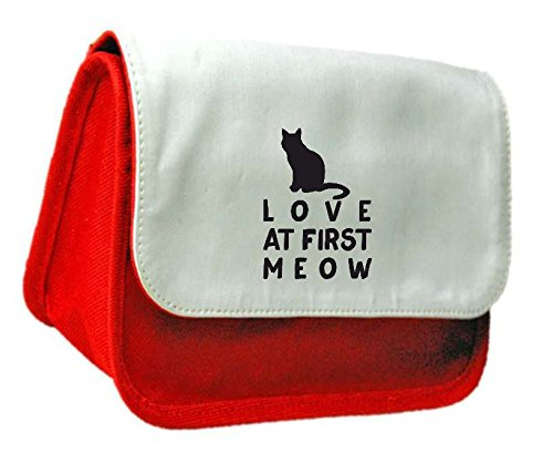 Love at first Meow Cat persona amante degli animali domestici divertenti a tema animale pochette o di matita divertente a tema animale pochette o di matita Misura unica Red - Zebra Porta Penne