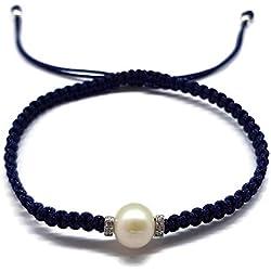 Pulsera con Perla de Macrame Hecha a Mano Azul Marino