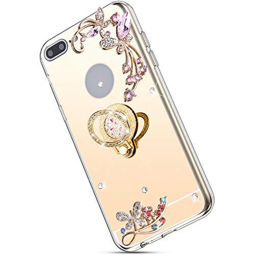 Ukayfe Kompatibel mit iPhone 7 Plus/8 Plus Hülle Glitzer Bling Kristall Blume Crystal Strass Diamant Handy-Ring Ständer Ultradünn Stoßfest Anti-Scratch Bumper Weiche Silikon TPU Handyhülle Case-Gold (Iphone-ring-fall)