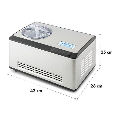 Klarstein Dolce Bacio Premium Edition • Máquina para hacer helados, sorbetes y yogures • Heladera compresión • Fabrica 2 litros de helado/hora • Pantalla LCD táctil • Temporizador • Acero inoxidable