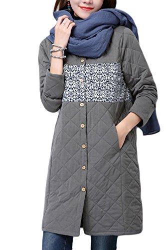 Le Donne Sono Collo Graphic Print Occasionale Cotone Impermeabile Outwear Imbottitura Grey