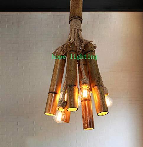 YAMEIJIA Edison Glühbirne Retro-Lauf-Laufe Bronze Hütte Stil Bambus-Anhänger-Lampe-Tuch Shop handgefertigte Pendelleuchten