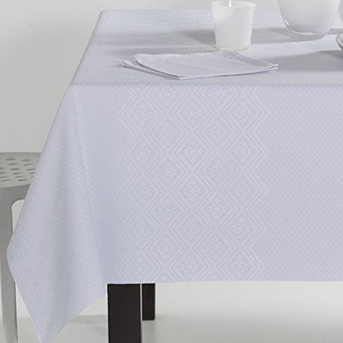 ES-TELA - Mantel jacquard LUGO color Blanco óptico - 140x250 cm. -...